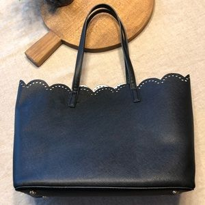BP from Nordstrom Black Scalloped Tote